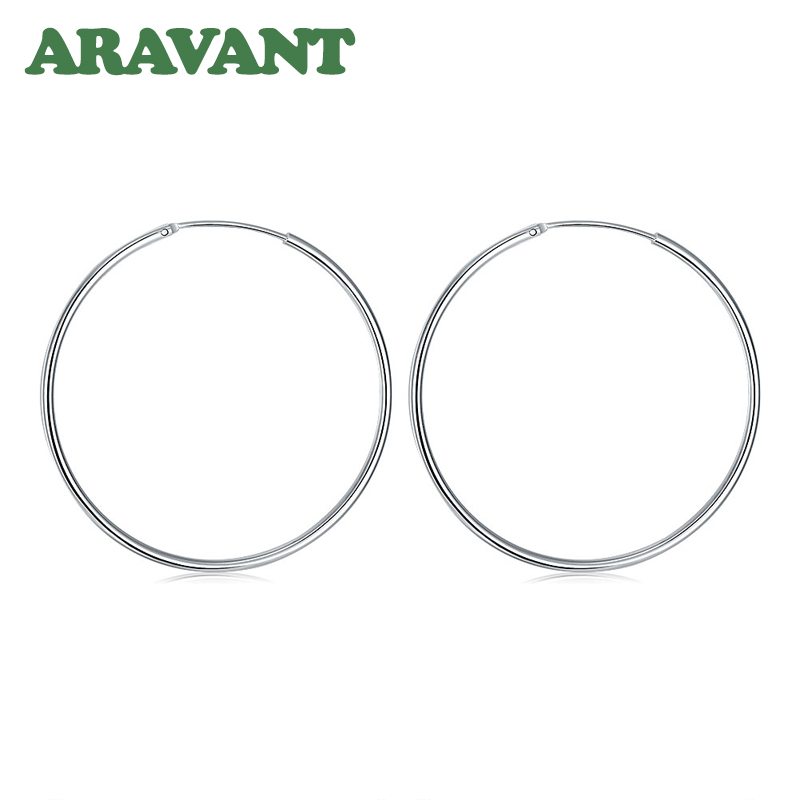 100% 925 Sterling Silver Hoop Earring For Women 50MM Big Round Circle Earrings Jewelry Gift 4