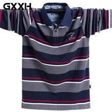 Осень-зима, мужская рубашка-поло в полоску с длинным рукавом, большие размеры, мужская Свободная Повседневная рубашка-поло с вышивкой и отворотом, 4XL 5XL