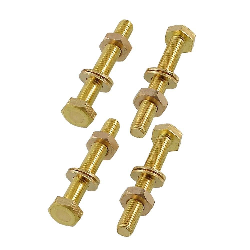 HHTL-5 x Brass 8mm x 60mm Male Thread Hex Screw Bolts Nuts Washers Set