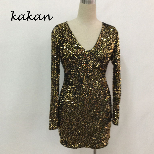 Kakan 2020 spring new women's sequin dress  slim sequin dress sexy nightclub club party dress 6