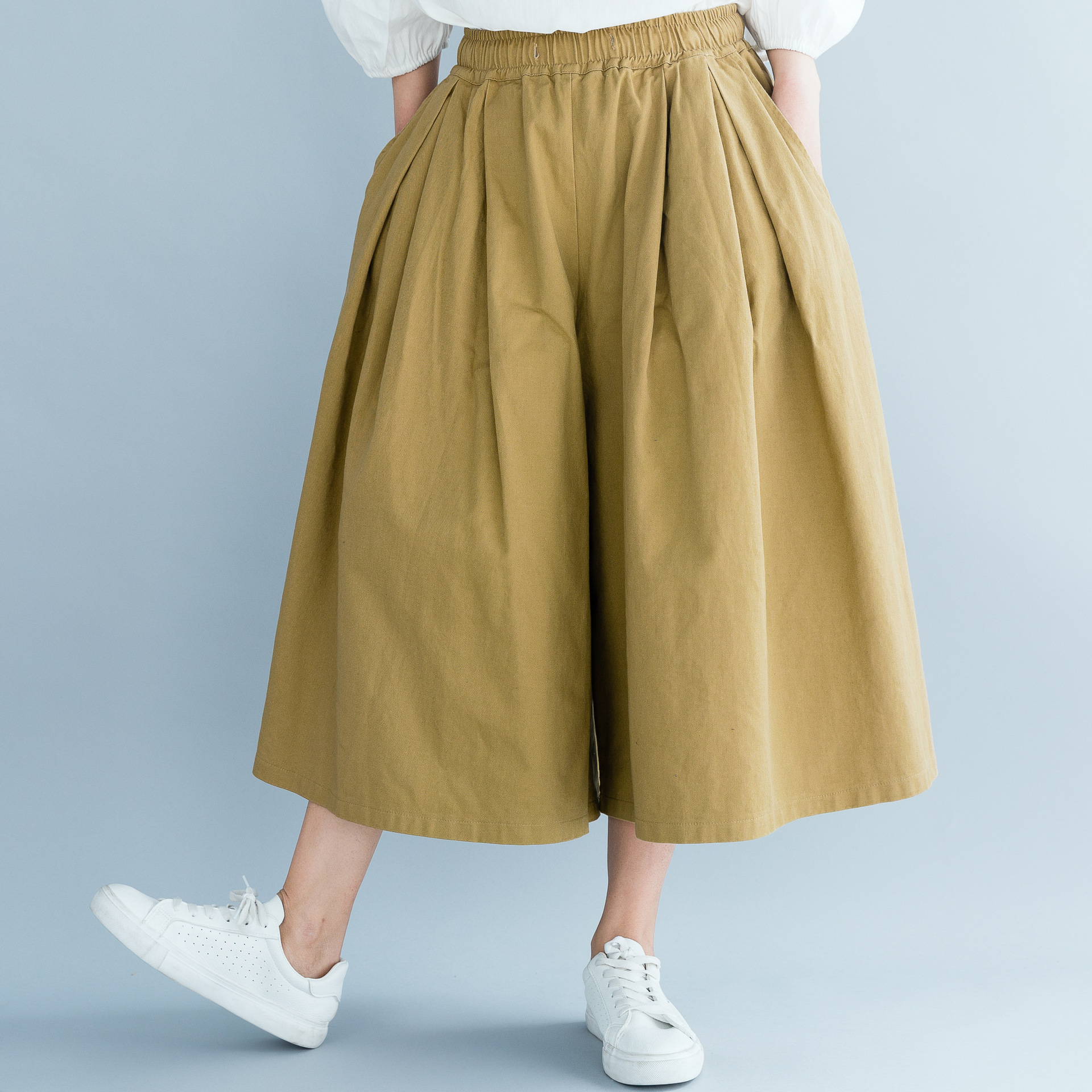 Johnature Korean Loose Elastic Waist   Wide     Leg     Pants   Summer 2019 New Leisure Simple Solid Color Calf-length Cotton Women   Pants