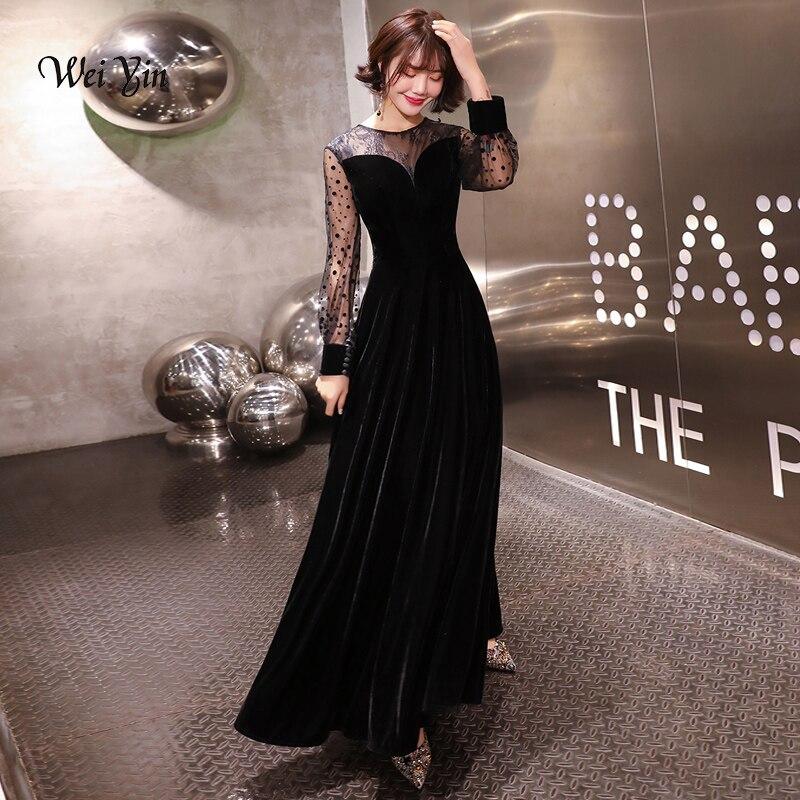 weiyin Black Muslim   Evening     Dresses   2019 A-line O-neck Long Sleeves Velvet Islamic Dubai Saudi Arabic Long Formal   Evening   Gown