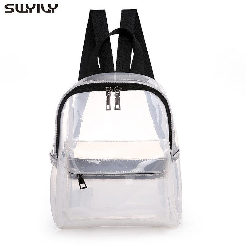 SWYIVY Plastick Jelly Shoulder Bag Woman Summer PVC Transparent Backpack Beach Holiday 2019 Lady Waterproof Backpacks For Woman 1