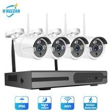 Wheezan CCTV Camera Security System Kit 4CH NVR Wifi Camera waterproof Home Video Surveillance Night Vision