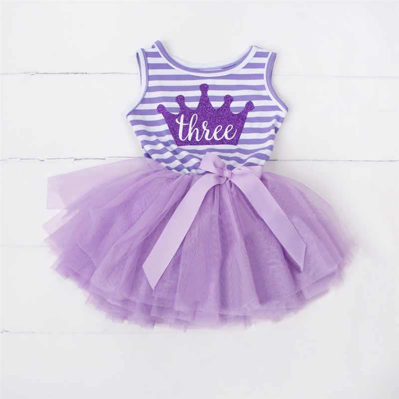 Summer Kids Dress for Girls Clothes 1st 2nd 3rd Little Tutu Outfits Baby Girl Party Dresses Birthday Gift Dress Baptism Clothing