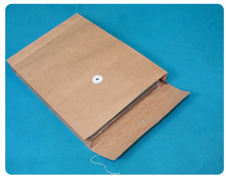 1pcs Button And String Envelopes , Kraft Paper Portfolio , A4 Document Bags