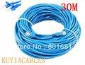 Бесплатная Доставка + номер для отслеживания! 30 М футов CAT5E CAT5 RJ45 Ethernet Сети Интернет Патч Кабель Lan Кабель Синий