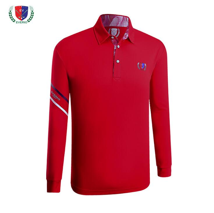 Autumn winter mens long-sleeve golf T-shirt High quality soft breathable training garment sports striped polo shirts golf wear