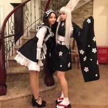 Envío gratis anime japonés lolita girls cosplay cos kimono dress maid