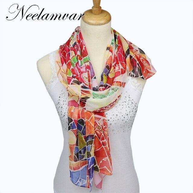 564014e78ba NOUVEAU style de Mousseline de Soie foulard en soie Femmes Marque Foulards  automne Hiver Châles Et