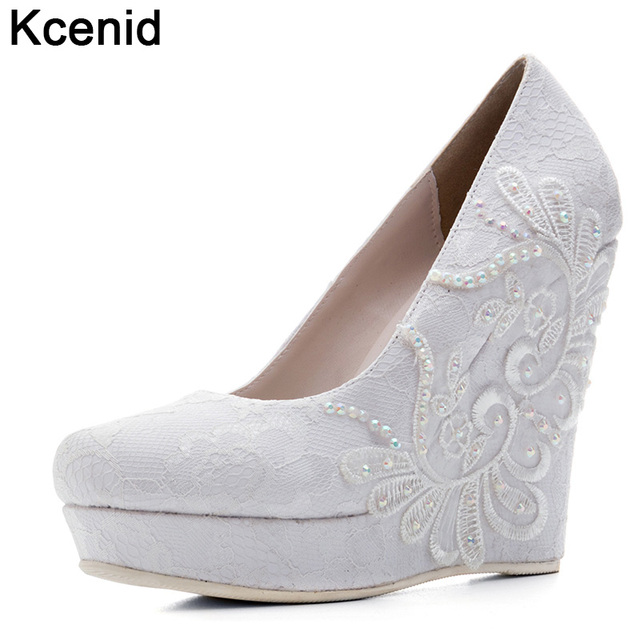 Kcenid Spring White Wedges Wedding Pumps Sweet Rhinestone Flower Lace  Platform Shoes Slip On Bride Dress