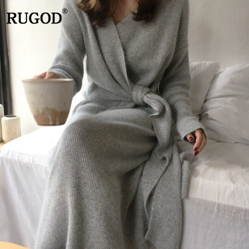 RUGOD 2019 New Korean Belted Cashmere Sweater Dress Women Fashion Office Lady V Neck Knitted Dress Winter Warm Thick Vestidos
