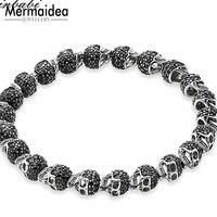 Black Zirconia Paved Skulls Bead Bracelet Elastic Heart Bracelet 925 Sterling Silver Rebel Punk Jewelry for Men