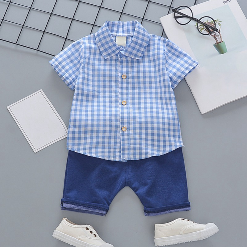Toddler Boys Plaid Print Short Sleeve Tops with Shorts Outfit 30