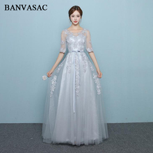BANVASAC 2018 O Neck Lace Appliques A Line Long Evening Dresses Elegant Bow Sash Illusion Half Sleeve Party Prom Gowns