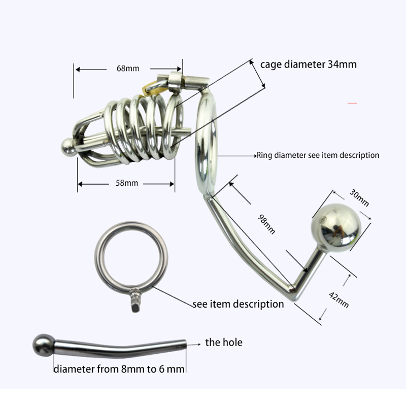 Stainless steel cock cage+anal hook plug male chastity device for men cock ring penis sleeve urethral catheter cages sex toys