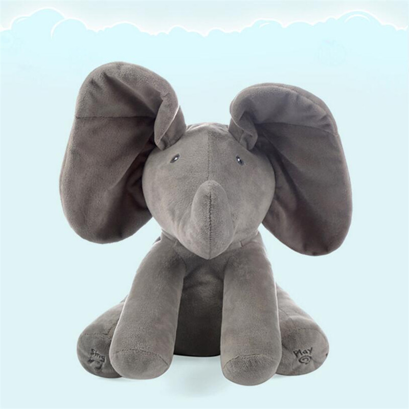Shineheng Peek boo Electronic Elephant Plush Toy Puppy Dog Play Hide and Seek Baby Kids Soft Doll Birthday Gift for Children