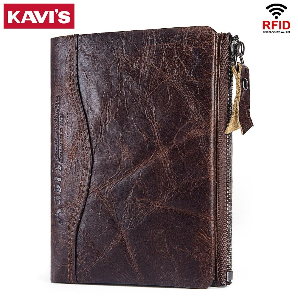 KAVIS High Quality 100% Genuine Leather Men Wallet PORTFOLIO Male Purse Small Portomonee With Short Rfid Fashion Mini Walet