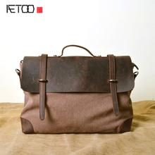 AETOO Холщовый мешок оптовая ретро мешок компьютера mad верховая кожа 20 холст первый слой кожаные сумки