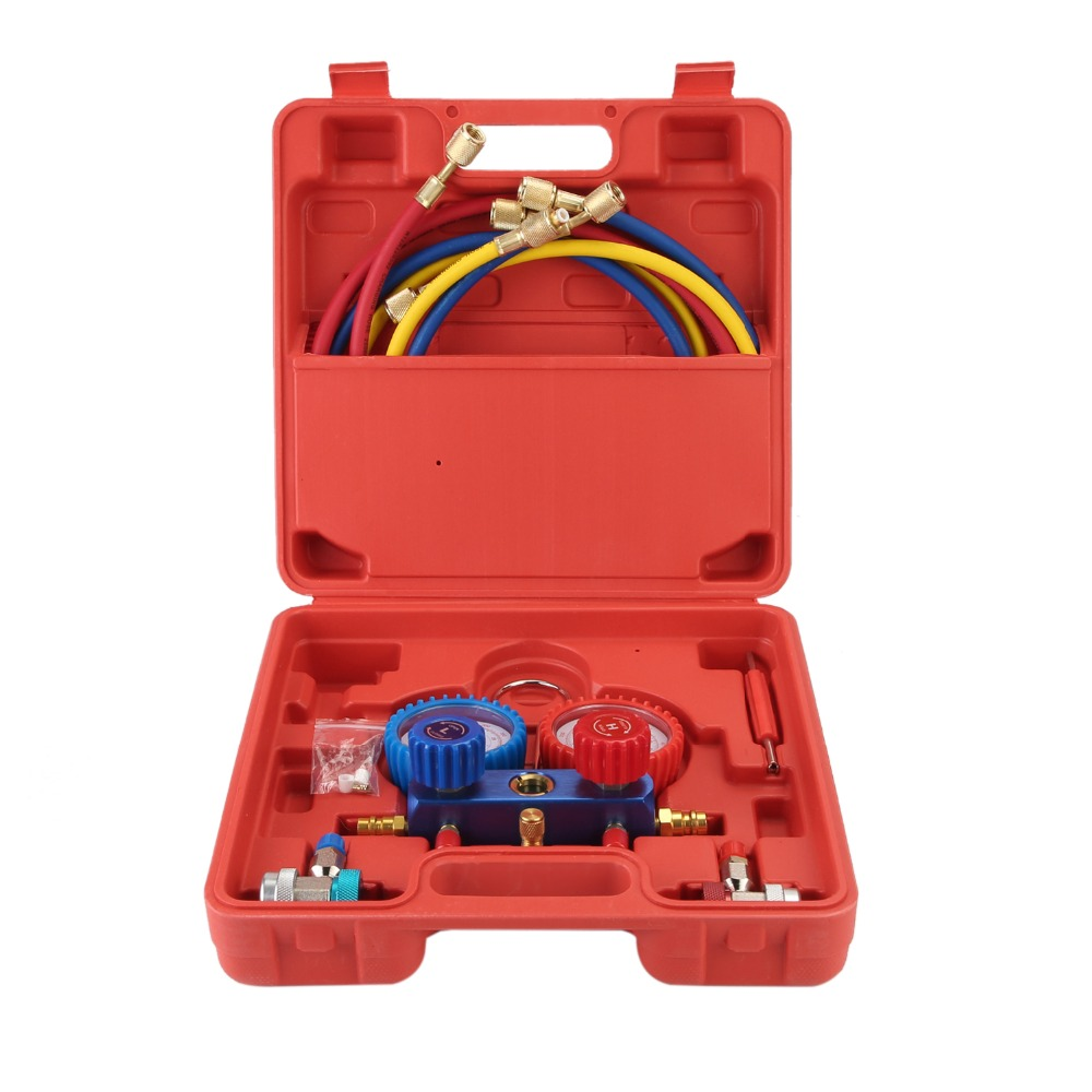 Air Conditioning AC Diagnostic High Low Pressure Manifold Gauge Refrigerant Tool Set R-134A With Carry BoxAir Conditioning AC Diagnostic High Low Pressure Manifold Gauge Refrigerant Tool Set R-134A With Carry Box