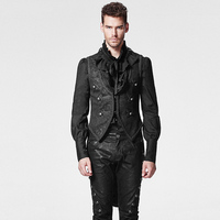 Black Gothic Swallow Tail Man Vest With Pressed Flower Steampunk Sleeveless Detachable Jacket Waistcoats