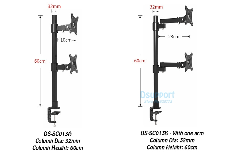 Desktop Clamping 13 27 quot Dual Screen Monitor Holder Long Arm Monitor Mount Retractable Rotation LCD TV Mount Rack Arm Base SC013 in Monitor Holder from Computer amp Office