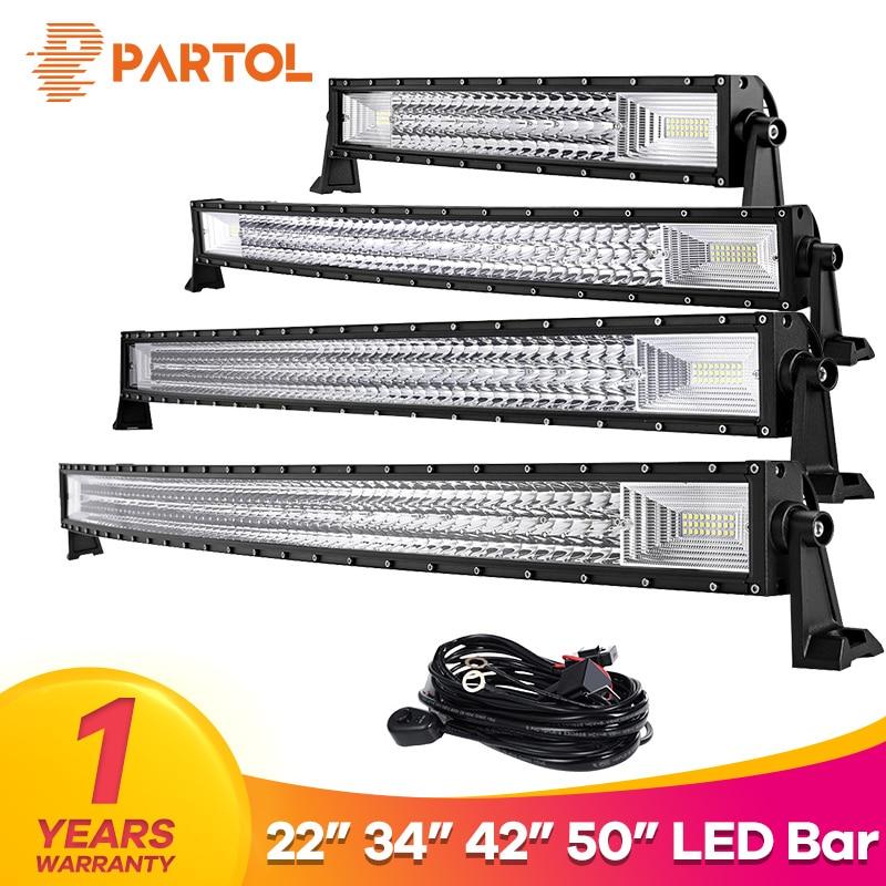 Partol 22 324W 34 486W 42 594W 50 702W Tri-Row Curved LED Light Bar Offroad Work Light Combo Beam 4X4 4WD LED Bar 12V 24V