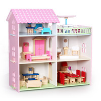 DIY doll house wooden three story dollhouse with miniature Furniture sets for dolls kawaii pretend play toy for children gifts