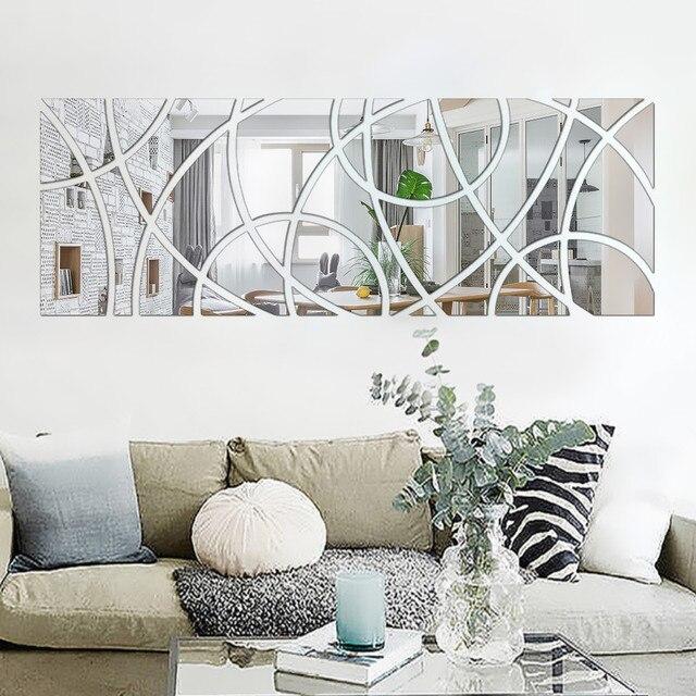 Украшение помещения стены искусства кристалл Светоотражающие DIY Зеркало Стикеры 3D стены Стикеры s дома Стикеры обои ТВ фоне стены декор