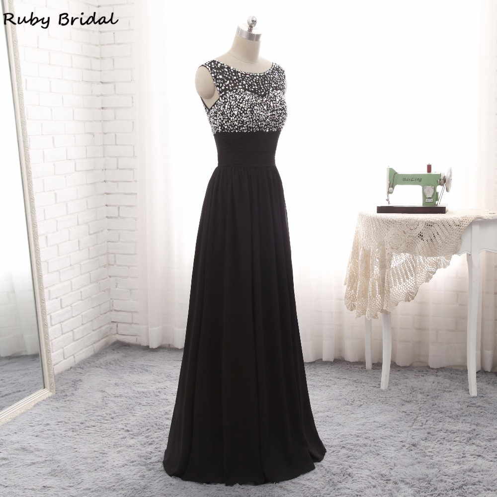 6833adff75 HOT SALE] Ruby Bridal Vestido De Festa Long Evening Dresses Black ...