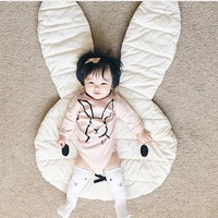 Quilted Play Mats Animals Rabbit Face Baby Blanket Carpet Rug Children Bed Room Decoration Northern European