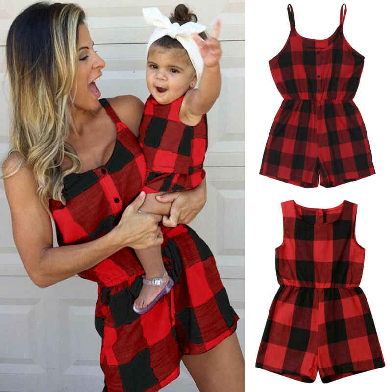 Mother Daughter Family Matching Outfits Clothes Plaid Parent-child Dress Baby Girls Mom Romper Fashion Summer Women Kids Costume