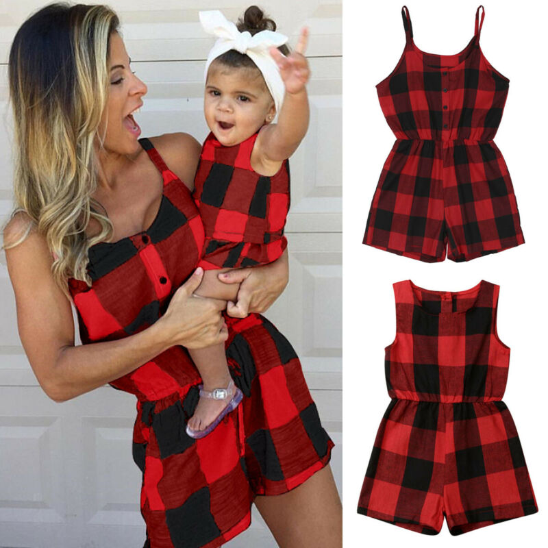 Family Matching Dress Romper Costume Outfits Mom Parent-Child Plaid Baby-Girls Fashion title=