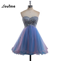 Colorful Short Homecoming Dresses Beaded Pink And Blue Prom Dress Graduation Party Dresses For 8th Grade