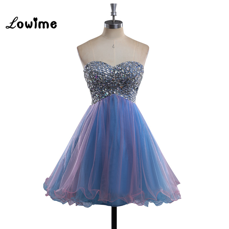 Colorful Short Homecoming Dresses Beaded Pink and Blue Prom Dress Graduation Party Dresses for 8th Grade vestido curto