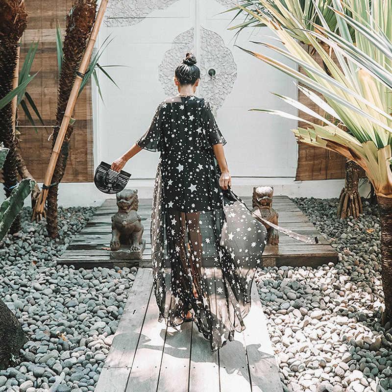 Облегающий шифоновый пляжный купальник 2019 с принтом звезд, сексуальный длинный кардиган, кимоно, богемное бикини, внешняя накидка