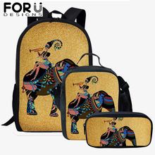 FORUDESIGNS 3Pcs/Set Children Backpack Shoulder Bags Kids Indian Ethnic Style Image Printing Schoolbag Bookbag Best Gift 2019