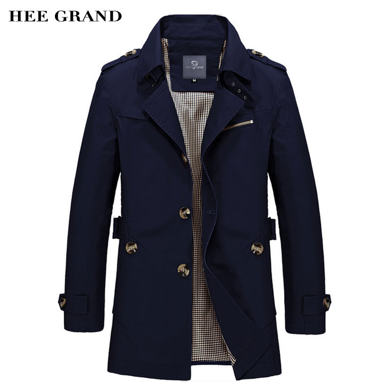 HEE GRAND Mens Coat 2018 Hot Sale Fashion Casual Autumn Long Windbreaker Turn-down Overcoat masculino Plus Size MWF274