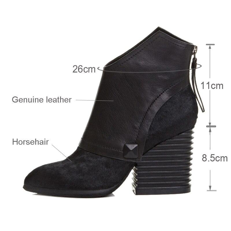 รองเท้าสตรีฤดูหนาวของแท้หนัง Pointed Toe ซิป Chunky ส้นรองเท้าบู๊ทข้อเท้าสีดำสีแดง botte femme plus ขนาด LR01 MUYISEXI-ใน รองเท้าบูทหุ้มข้อ จาก รองเท้า บน   3