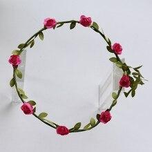 Korean Wreath Flower Crown Wedding Garland Headband Women Forehead Hair Accessories Beach Holiday Party Photo Hair Band Hairband