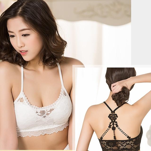1f009b1058c 1PC Women Hollow Fashion Lace Flower Crop Top Strap Vest Cross Cut Out  Blouse Bustier Ladies
