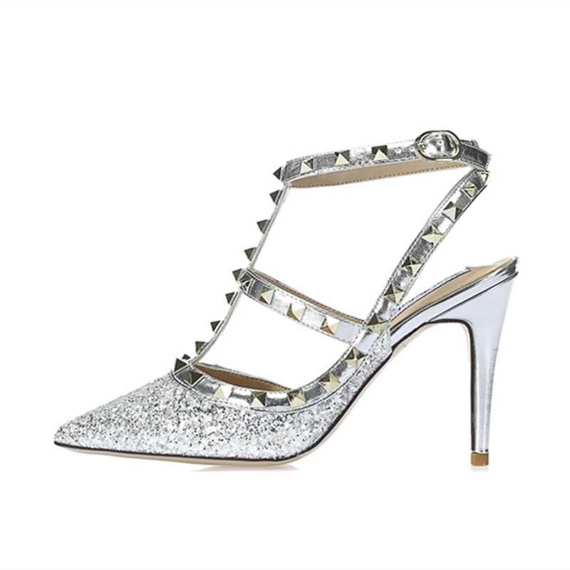 Glitter crystal sequins pointed toe high heels women stiletto pumps ankle strap rivets sandals bridal wedding shoes sliver white dress tassel fringe glitter glittering stiletto high ankle strap heels sequin rhinestone wedding women shoes pumps gold red page 9