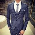 2016 Nuevo invierno raya hombre edición de han cultiva su ocio chaqueta de traje/El novio vestido de traje (chaquetas + pants + vest)