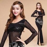 Sequined Sexy Oriental Belly Dance Practice Costumes Set For Women Bellydance Indian Dancing Clothes Dancewear Top