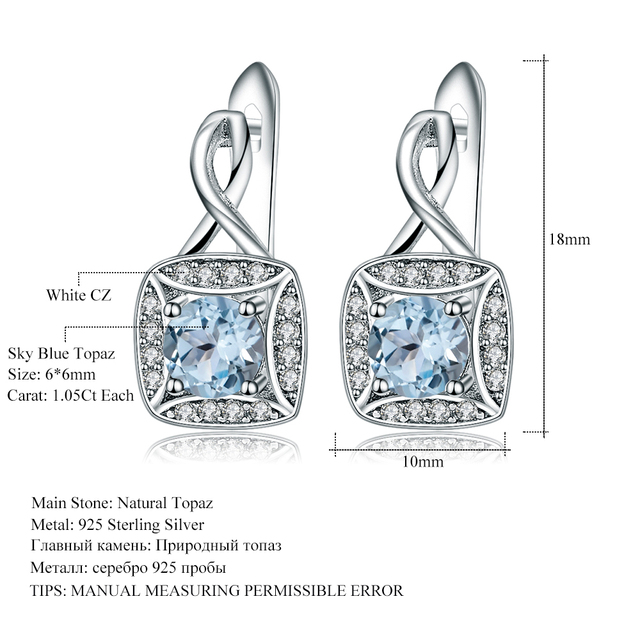 Gem's Ballet Natural Sky Blue Topaz Genuine 925 sterling silver Clip Earrings For Women Fashionable Jewelry Gift Wedding