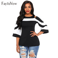 566826576 Bell Sleeve Women S Summer Blouse Cold Shoulder Colorblock Black White  Blouses Spring Casual Tops Ladies. Manga sino das Mulheres Blusa ...