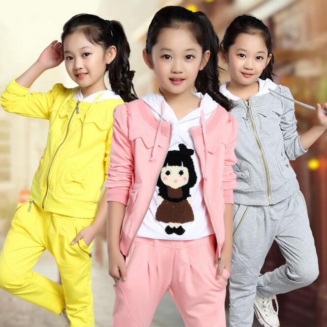 Leisure Children Clothing Full Sleeve Conjunto Infantil Menina Embroidery Pattern Toddler Girl Clothes Active Coat For Girls swan grils clothing sets summer animal shirt dot pants suit toddler girl clothing tracksuit conjunto menina children s clothing