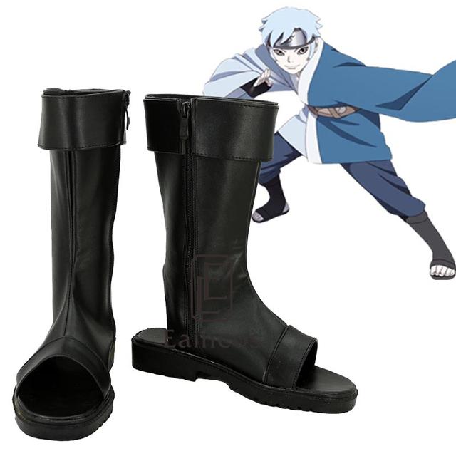 Anime Naruto Uzumaki Boruto Zapatos de Fiesta Cosplay Fantasía Negro Peep Toe Botas de Tamaño Personalizado