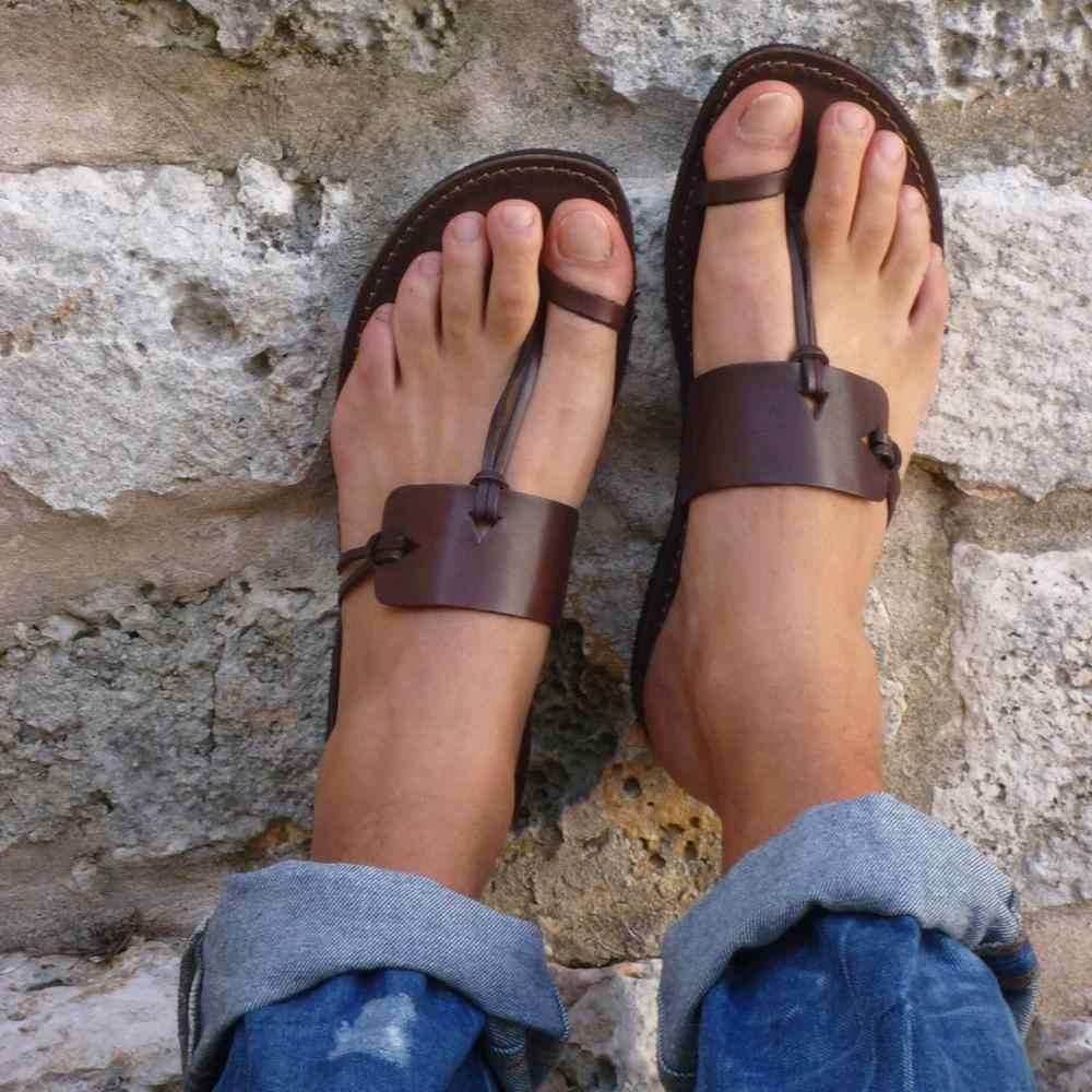 รองเท้าแตะ Gladiator ฤดูร้อนฤดูร้อนรองเท้าแตะสตรีแบนสุภาพสตรีหวาน sanalias ผู้หญิงชายหาดรองเท้ารองเท้าหนัง PLUS ขนาด