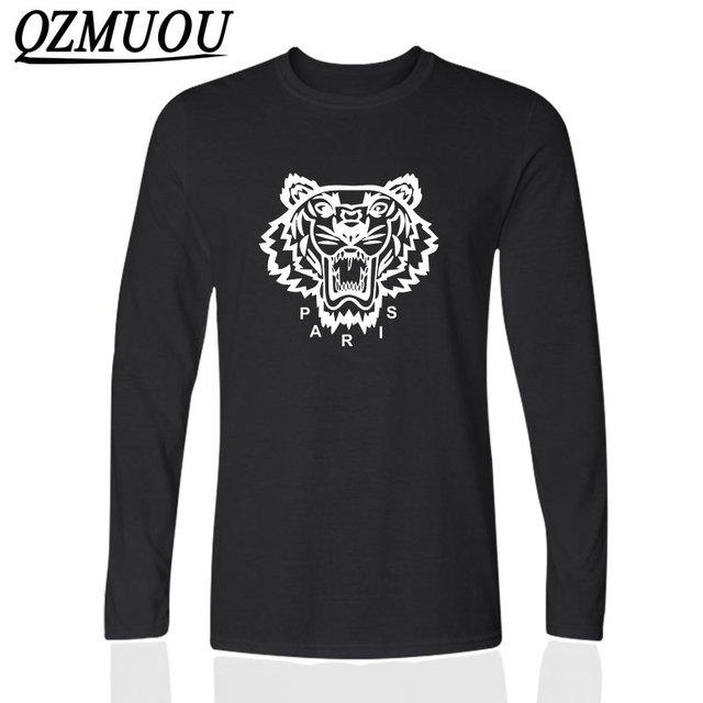 T-shirt Dos Homens de moda Impresso Paris Tiger Tops de Verão T-shirt Dos Homens Manga longa O Pescoço T-shirt Top T-shirt De Algodão Casual masculino Tshirts
